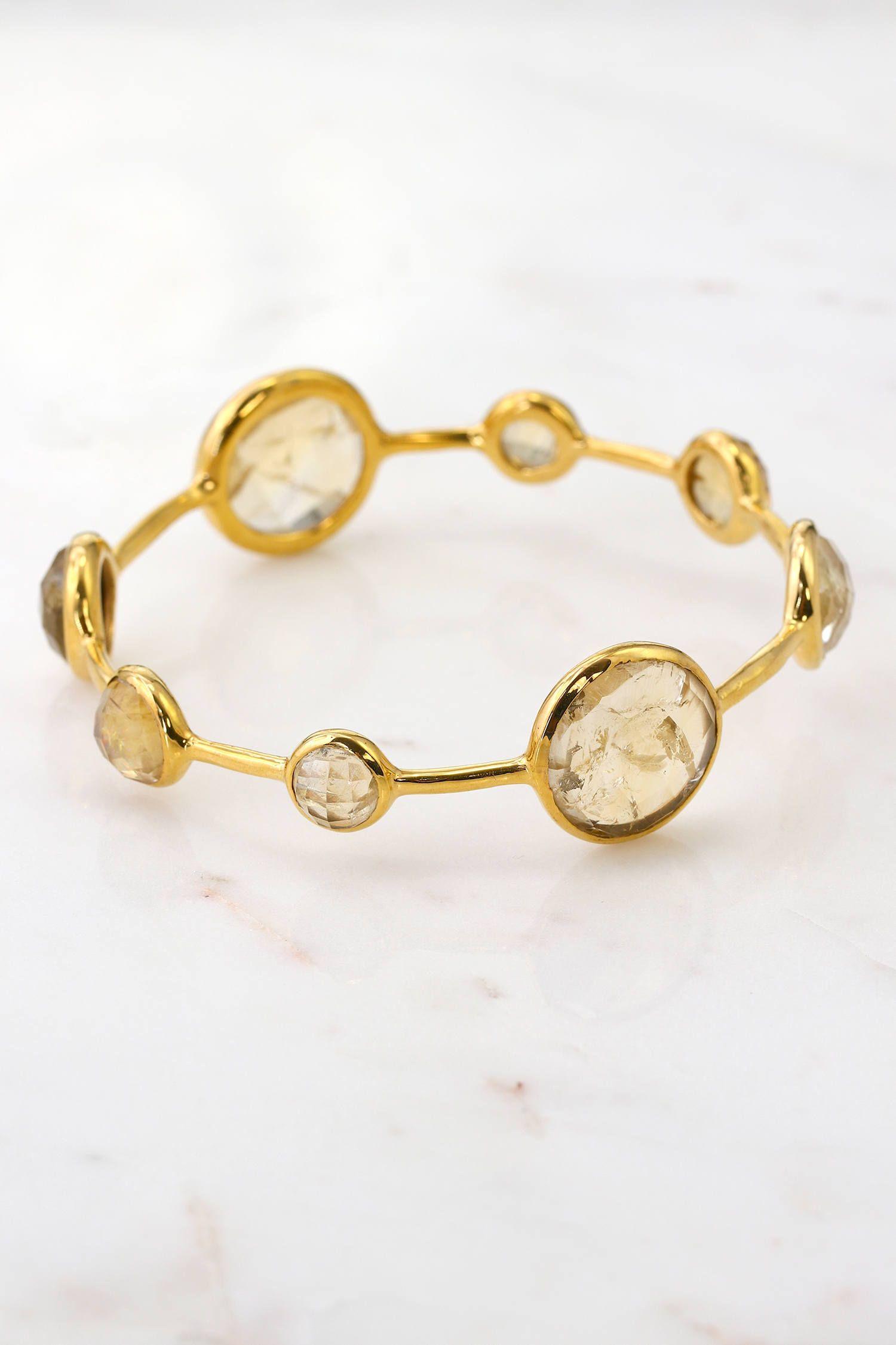 Golden rutilated bangle bracelet gold bangle rutilated bangles