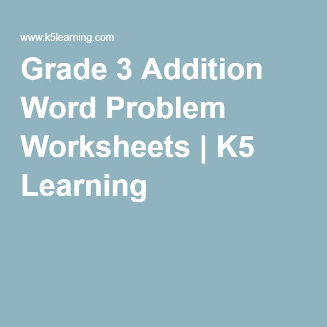 Grade 3 Math Word Problem Worksheets | K5 Learning | If I ever ...