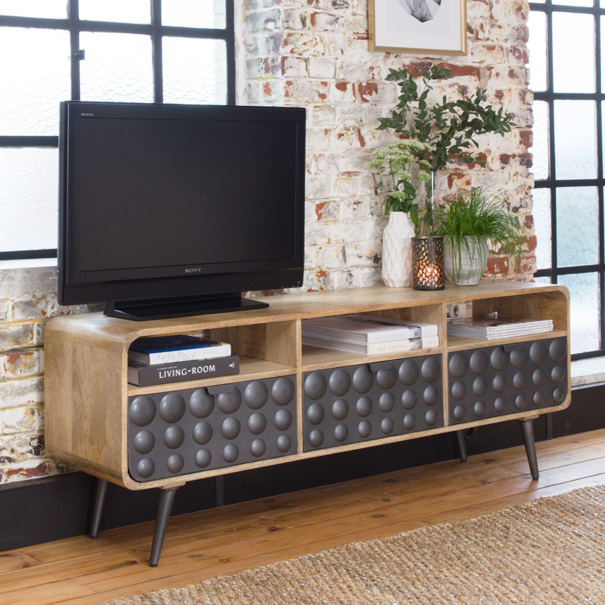 meuble tv retro rond gris 3 niches 3