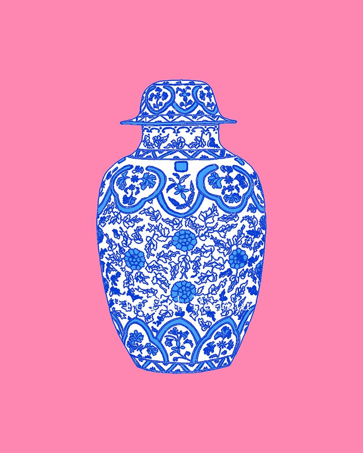 Ming blue chinoiserie ginger jar on coral pink x giclee coral