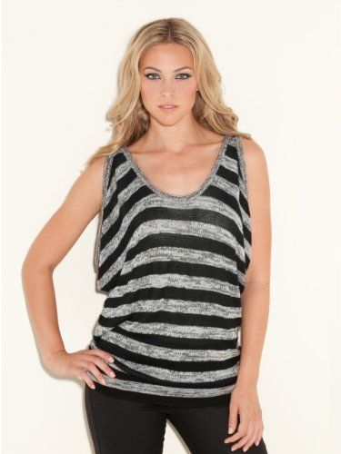 GUESS Draped Striped Sweater Top