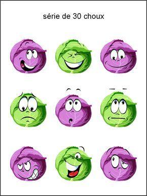 émoticônes Smileys Cliparts Tête De Chou Vert Rouge Rire