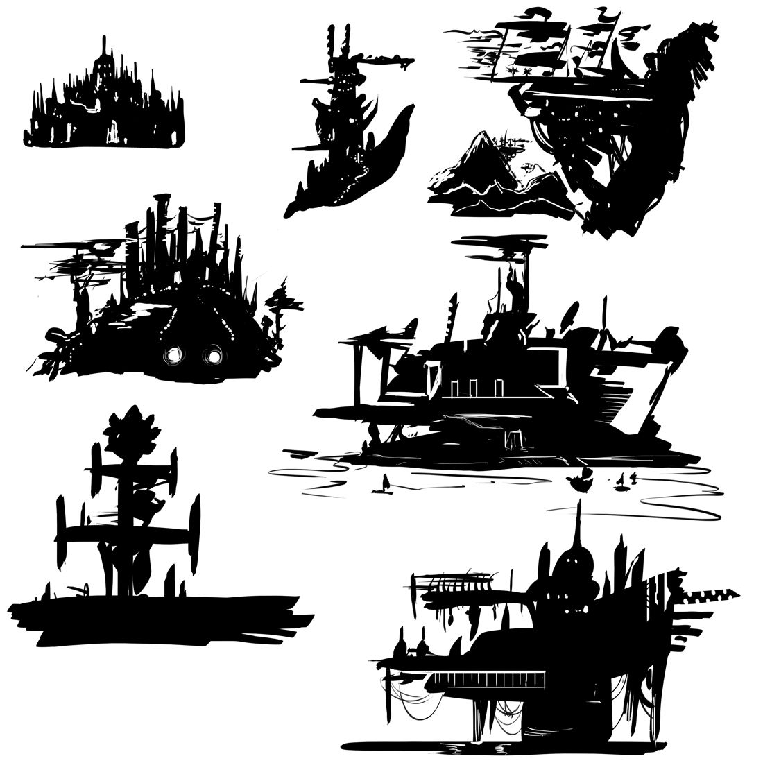Pin By Sean Kenney On Sci Fi Silhouette Concept Art Characters Sillouette Art Concept Art Black cat house roof stars silhouette
