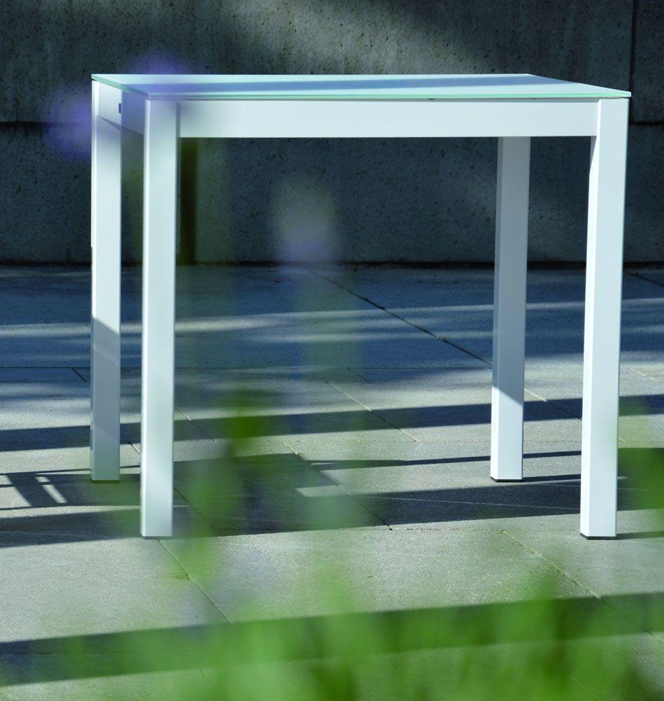 Jan Kurtz Gartentisch Quadrat Weiss Tischgestell Esstisch Glas Gartentisch