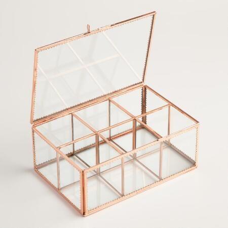 Charmant Copper Glass Tea Storage Box | World Market