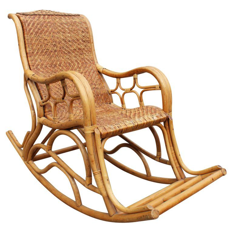 1980s Spanish Bamboo And Laced Wicker Rocking Chair Wicker Rocking Chair Rocking Chair Wood Chair