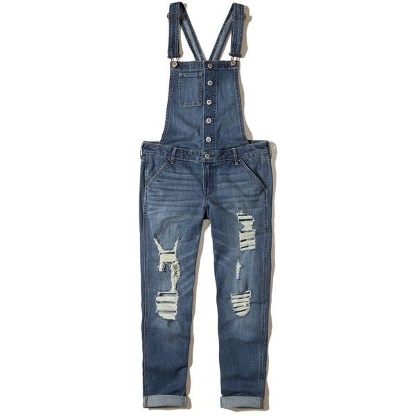 5645e72a7e9 Hollister Ripped Denim Overalls (220 BRL) ❤ liked on Polyvore featuring  jumpsuits