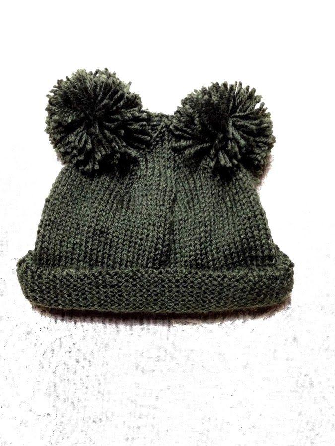 cdae3915d Gorro infantil de lana. ( Dos agujas y dos pompones) | Manualidades ...