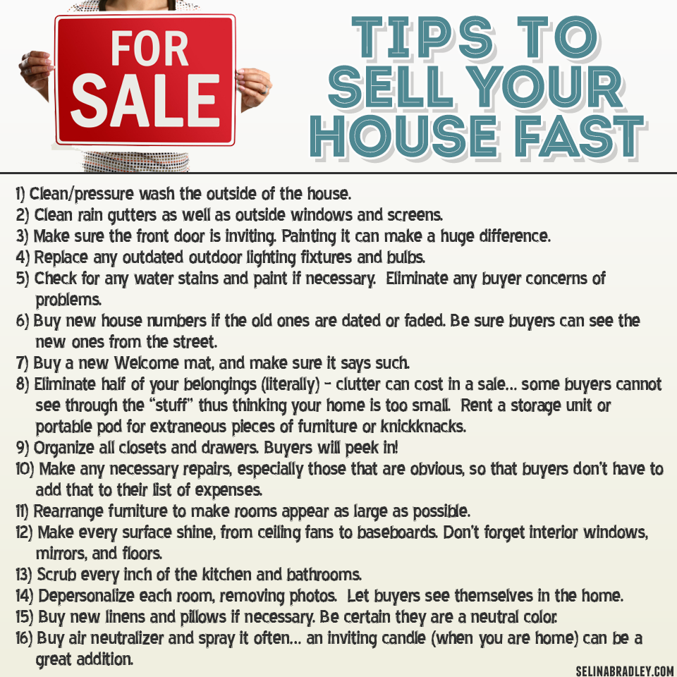 Tips to sell your house fast Contact Cathy Tishhouse, Real Estate Agent, SouthEast Michigan goo.gl/IXZ3i9