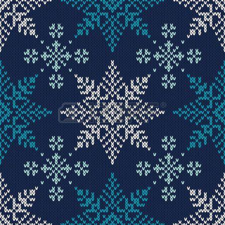 Fair isle: Vacaciones de invierno de punto del patrón con copos de nieve. Vector inconsútil del fondo Vectores