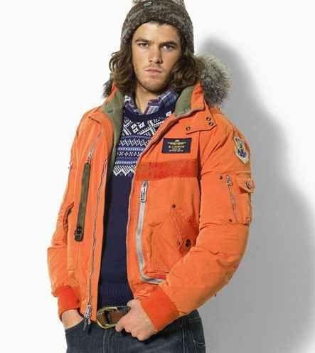 Ralph Lauren Mens outlet Nylon Hooded Down Parka In Orange