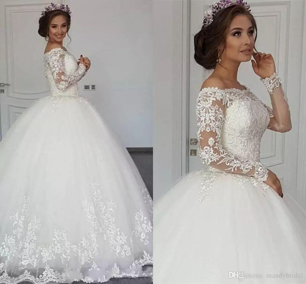 new elegant lace arabic ball gown wedding dresses long sleeves