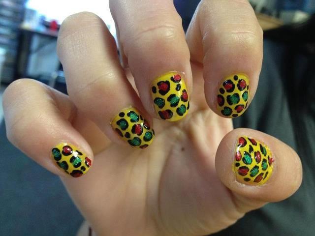 Rasta Leopard Nails Nails Pinterest Nails Leopard