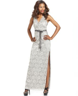 BCBGMAXAZRIA Dress, Sleeveless Belted Lace Evening Gown - Womens Dresses - Macy's