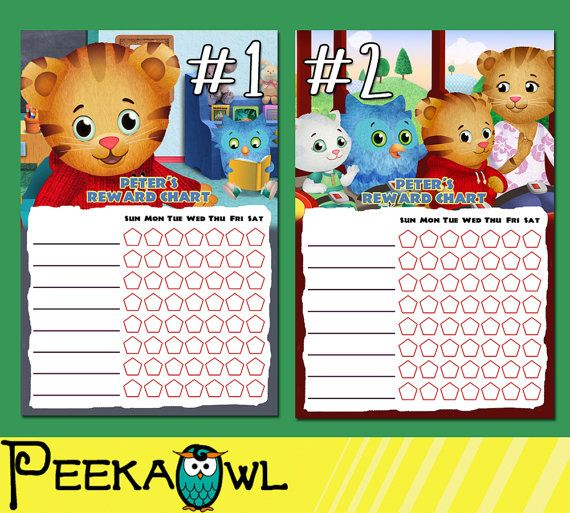 Printable Daniel Tiger Theme Personalized Behavior Chart Reward Chart Chore Chart Potty Char Daniel Tiger Birthday Party Sticker Chart Daniel Tiger Birthday