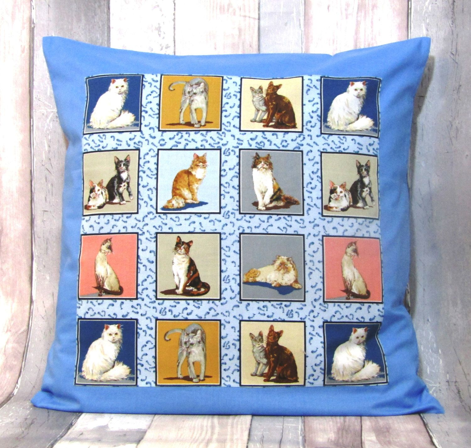 Cats, Cat Pillow Cover, Cats Print Cushion Cover, 20 X
