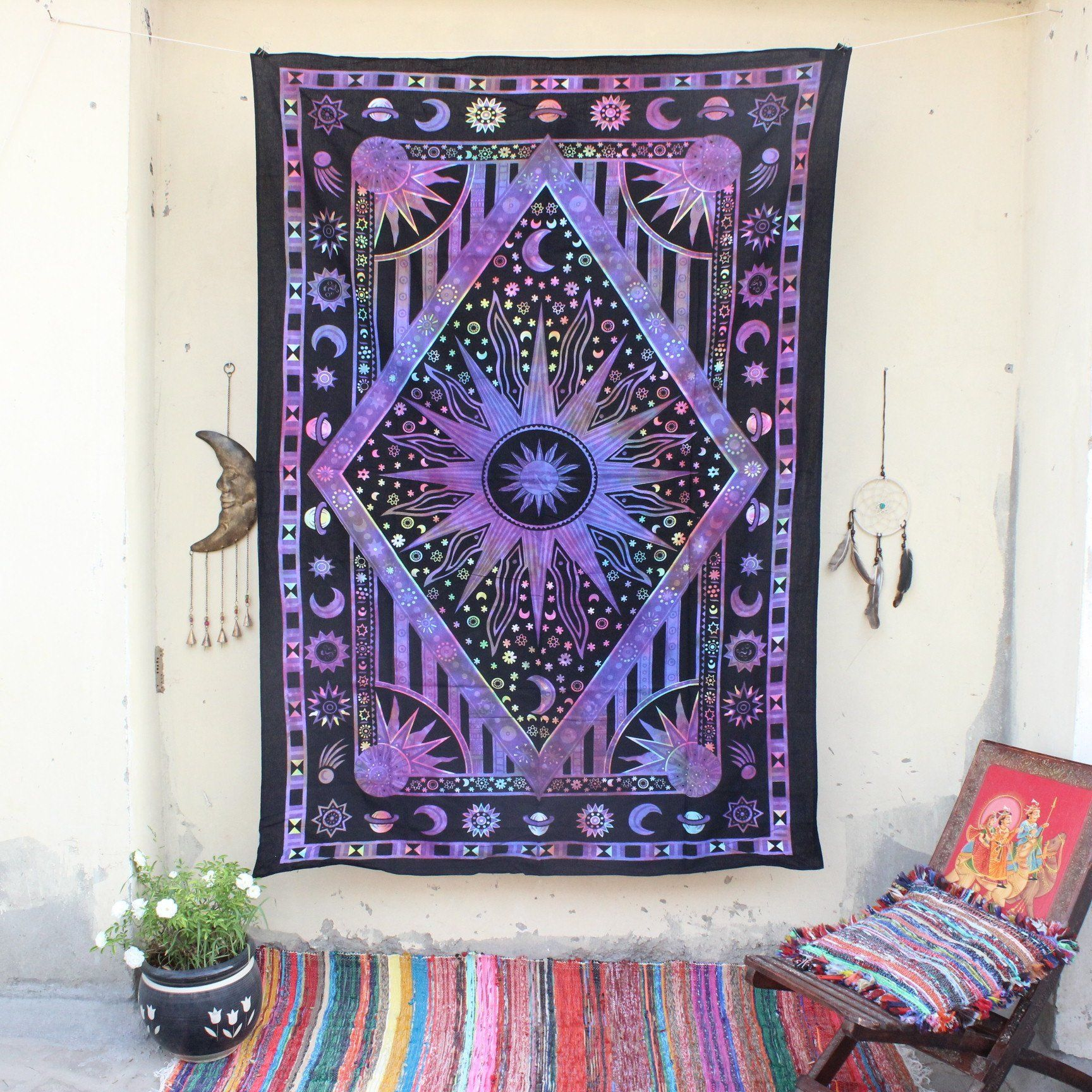 Sun Moon Wall Tapestry Purple Sun Tapestry Celestial Trippy