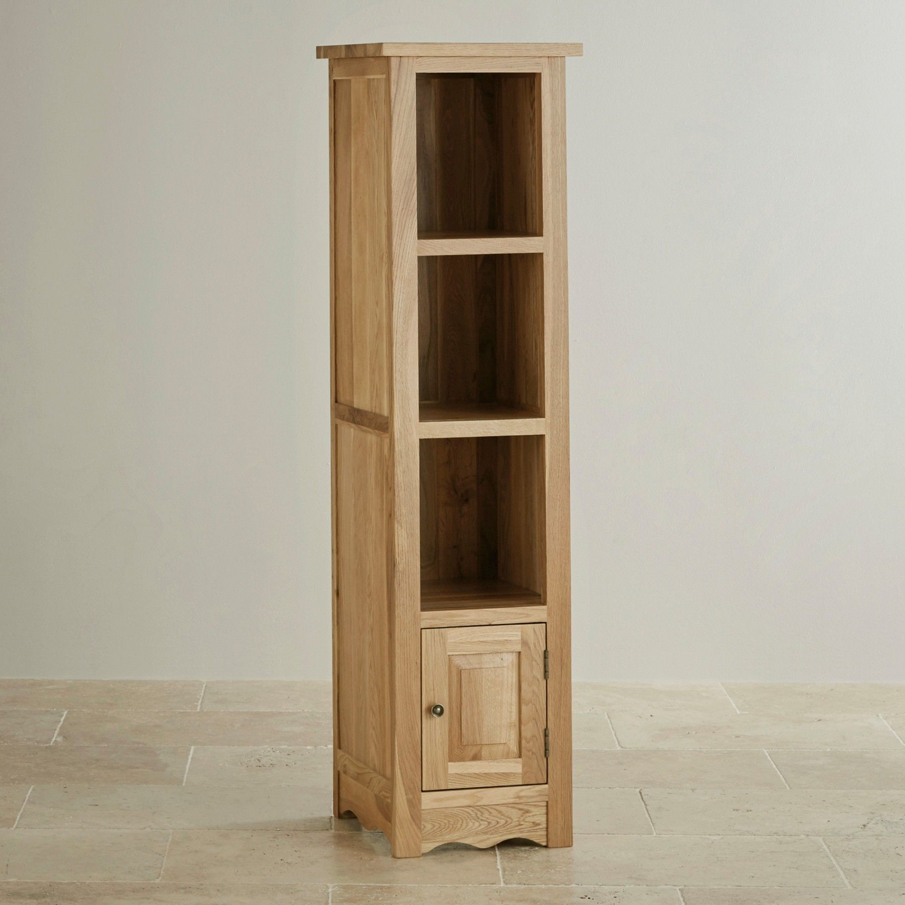 Cairo Natural Solid Oak Slim Tall Bookcase Oak Furniture Land Slim Bookcase Bookcase