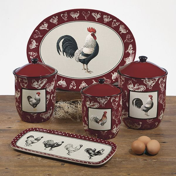 chicken canisters | certified international dinnerware/ rooster collection | Country . & chicken canisters | certified international dinnerware/ rooster ...