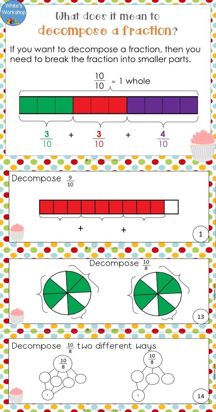 Decomposing Fractions Decomposing Fractions Fractions Worksheets Fractions [ 1405 x 736 Pixel ]