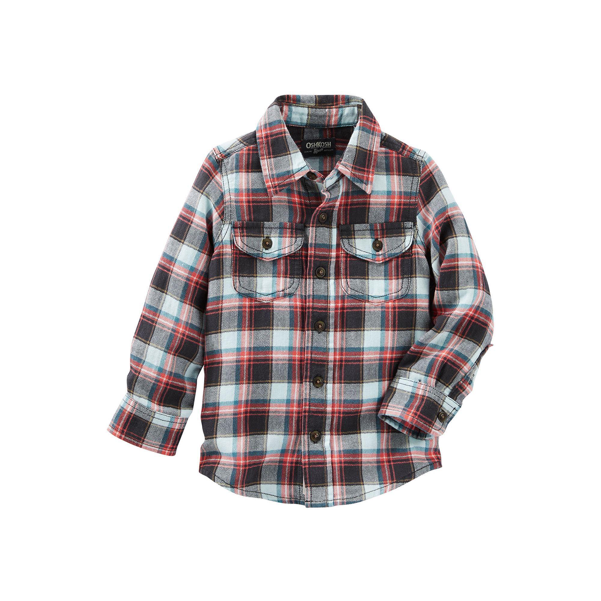 Toddler OshKosh BGosh Woven Check Shirt Green Plaid-5