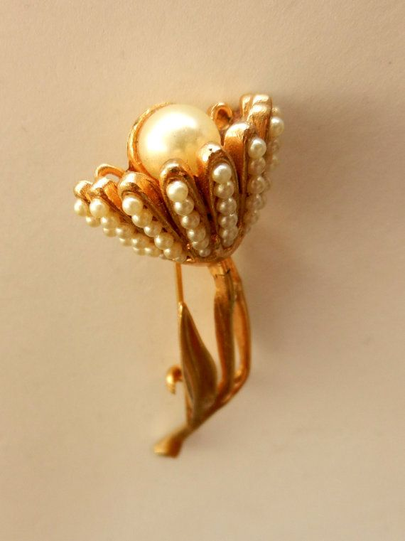 Beautiful 1950 Vintage Golden Flower Pin With Tiny by RAKcreations