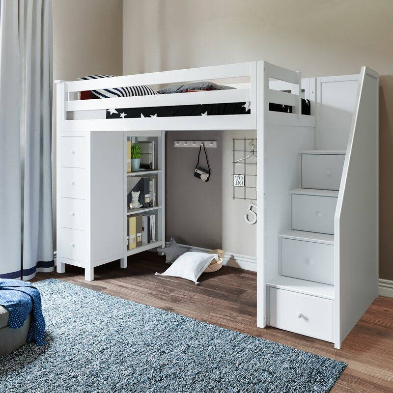 Ayres Twin Loft Bed With Drawers And Shelves Low Loft Beds Twin