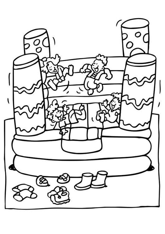 Coloring page bouncy castle