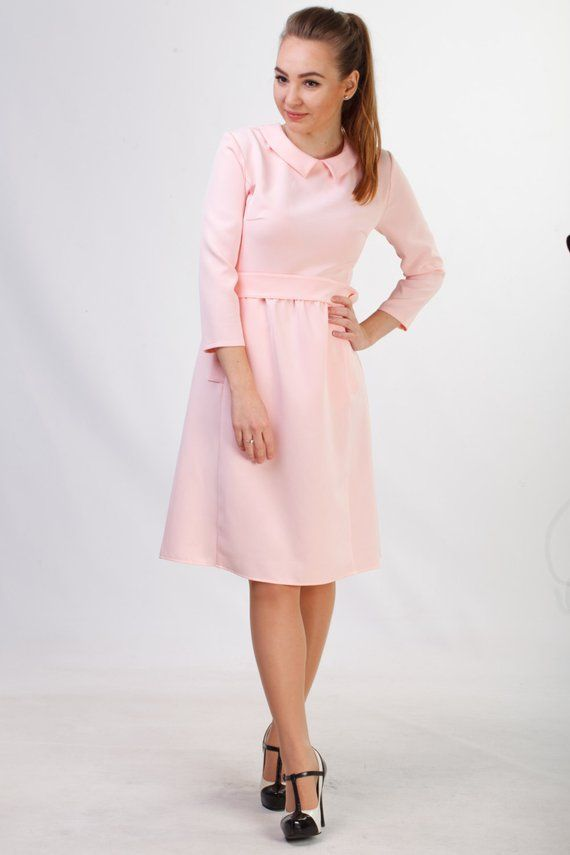 e34a311c8afac Pale pink pencil dress with pockets Midi blush dress for office Retro  inspired casual wear women