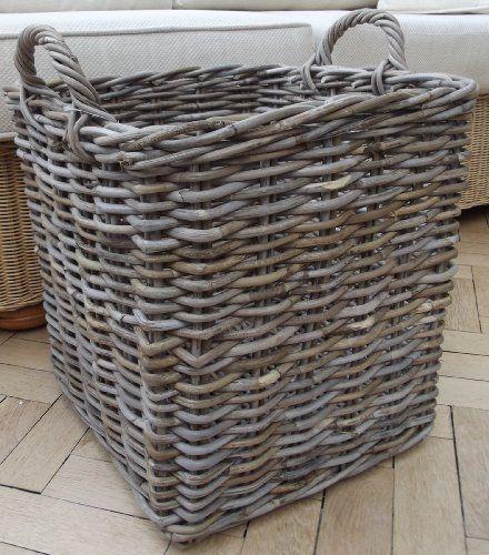 Rectangular Grey Buff Rattan Storage Baskets: Medium Squared Log Laundry Or Toy Storage Basket Chunky