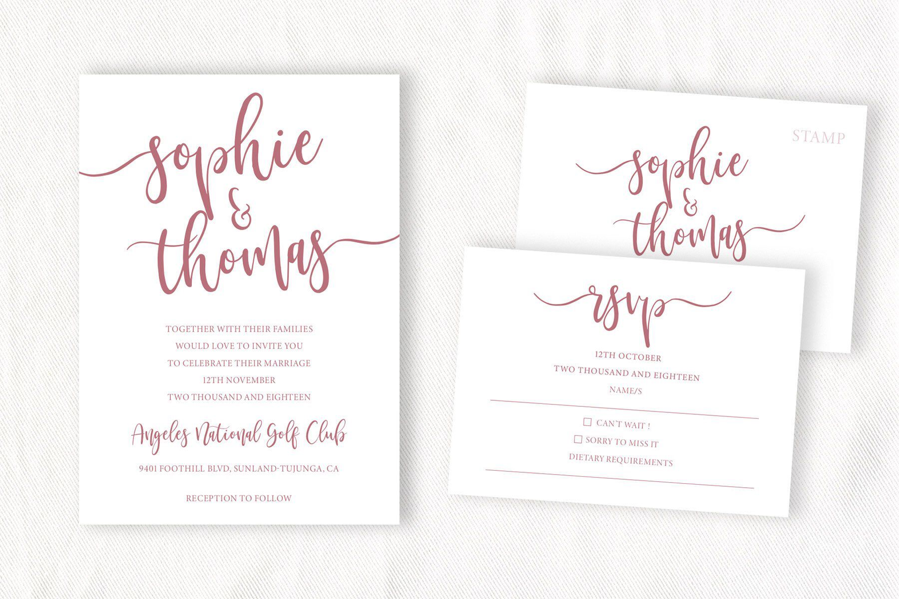 rose gold wedding invitation template modern calligraphy wedding