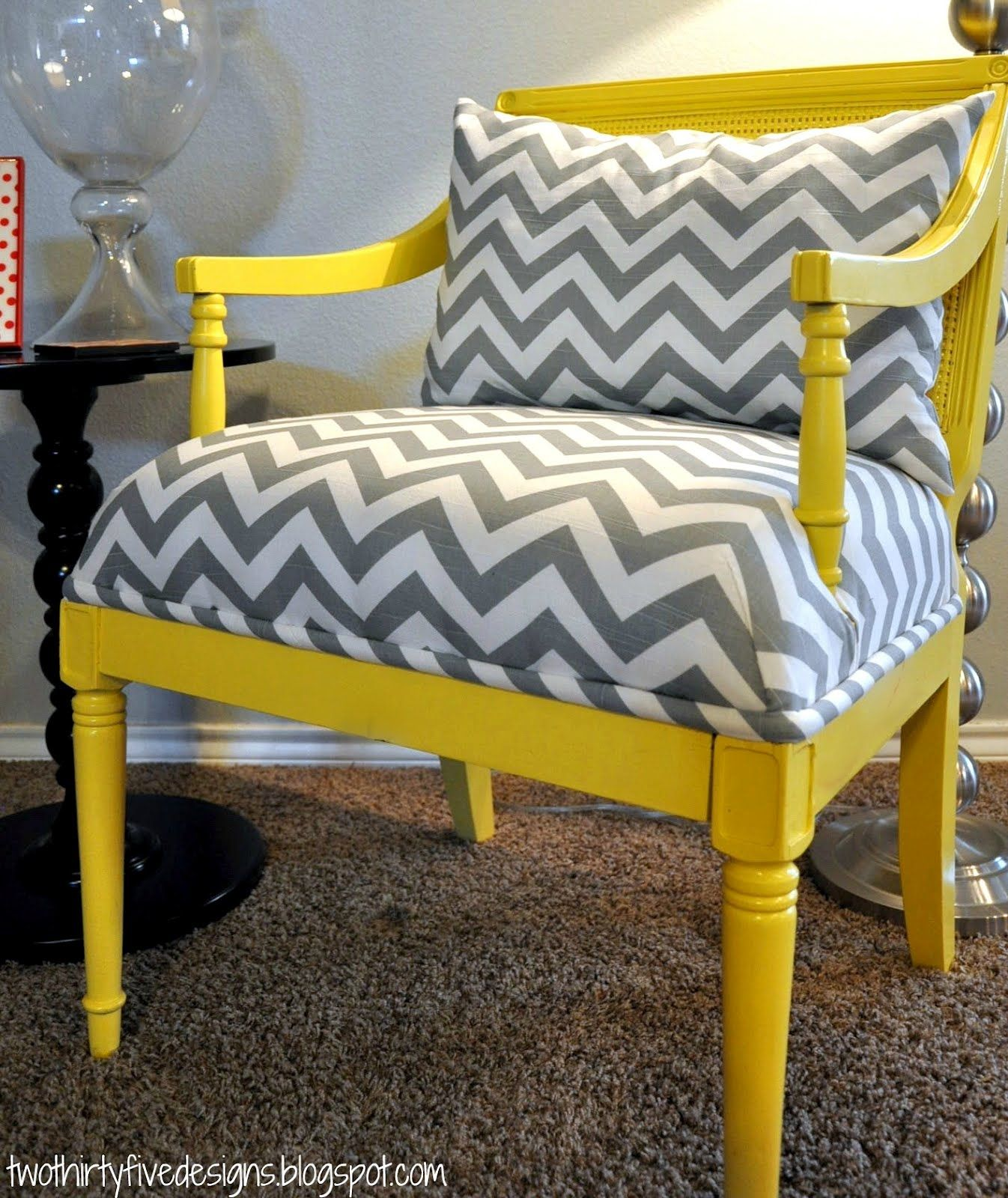 Chair redo love the grey chevron fabric and yellow paint New