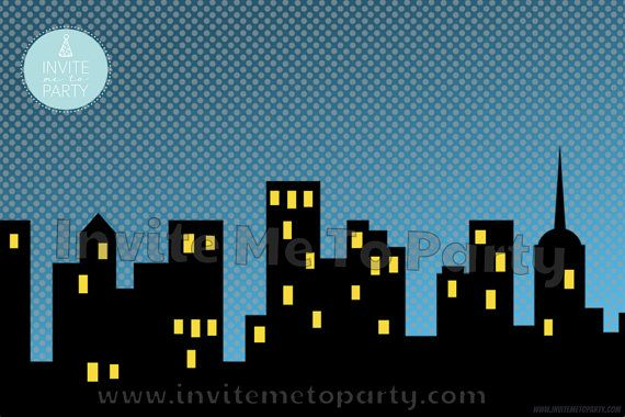 Superhero City Scene Printable Backdrop Printable Photo