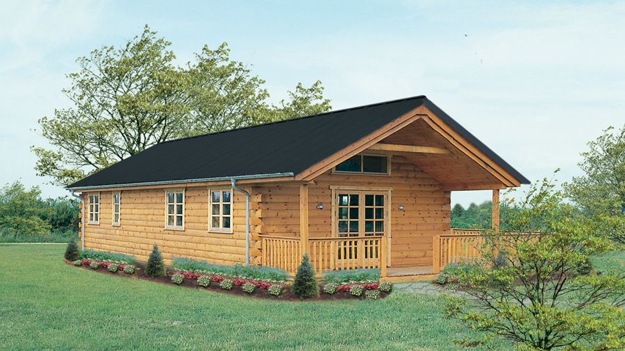 The 1-story Winter Camp log cabin is the right choice for any season ...