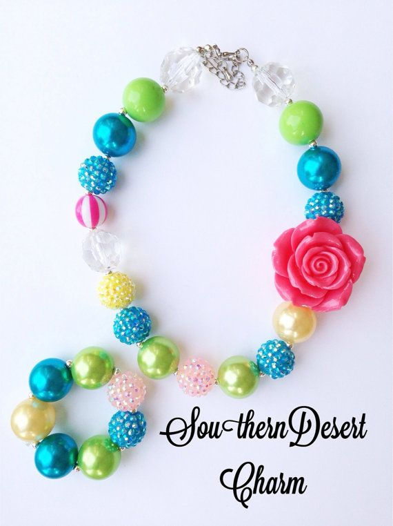 Toddler or Girls Carnival Sparkly Bubblegum Necklace on Etsy, $20.00