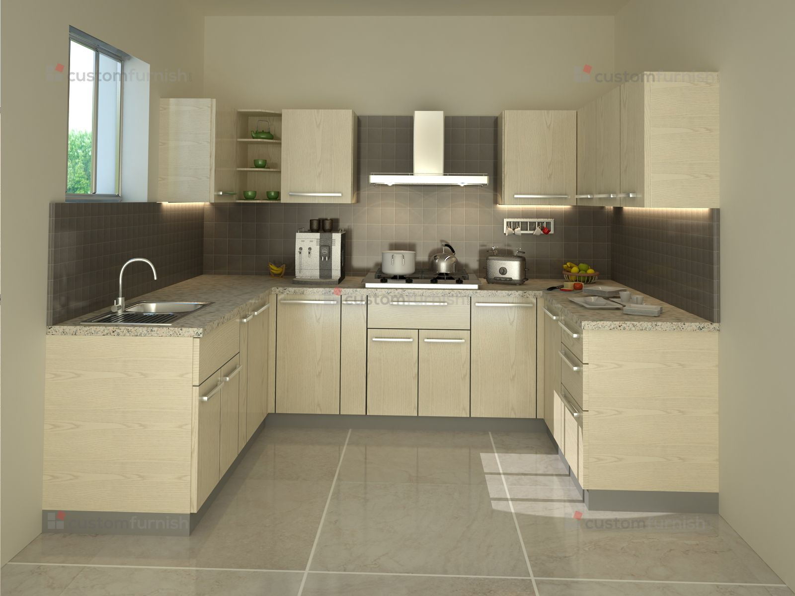 Cream Colour Modualr Kitchen Design Kitchen Modular Modular