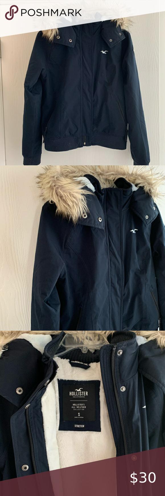 Hollister Winter Coat Sz Small Hollister Jackets Winter Coat Blue Jacket [ 1740 x 580 Pixel ]