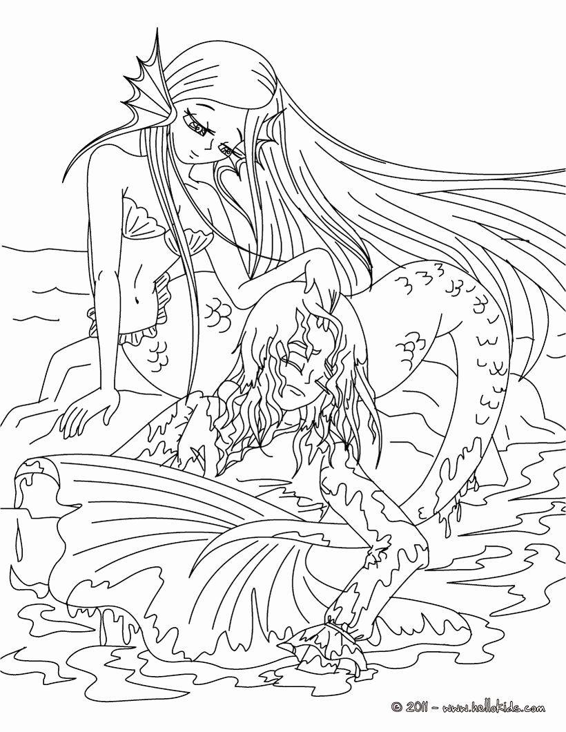 Free Printable Hard Mermaid Coloring Pages