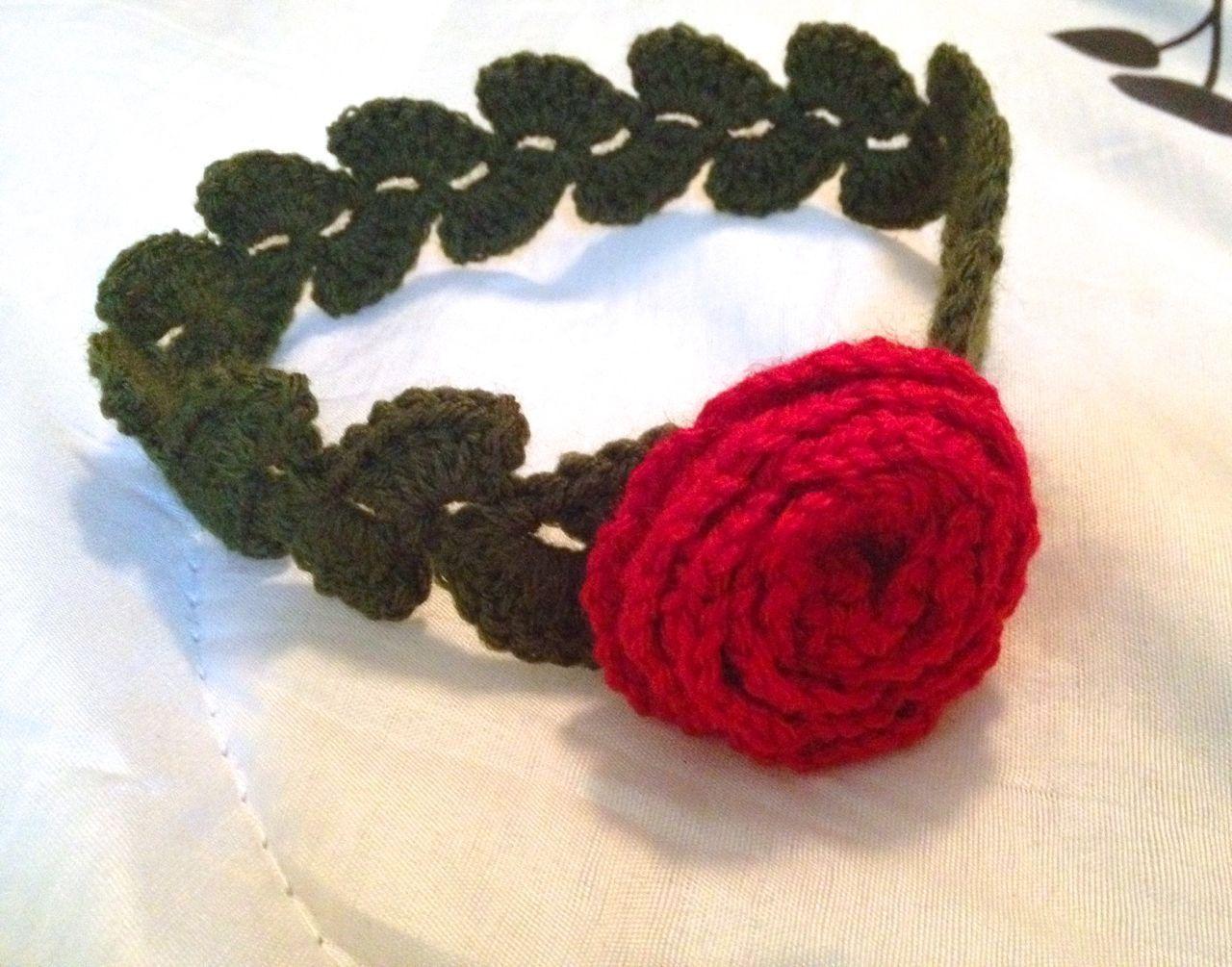 Baby Flower Headband - Baby Rose Headband - Baby Floral Headband - Photo Prop - Rose and Leaves Headband - 0-12 Months - Customizable