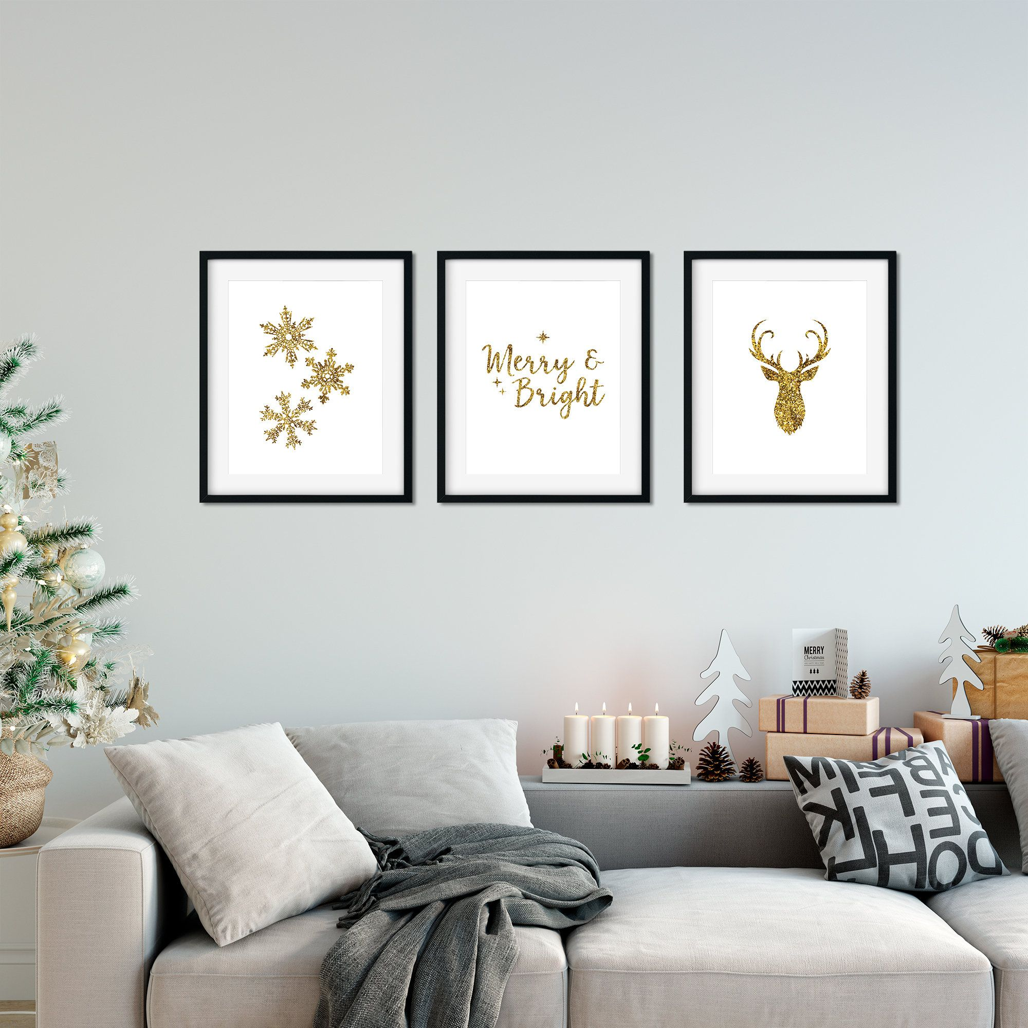 Gold Christmas Printables Set Of 3 Glitter Gold Christmas Wall Art Christmas Wall Decor Holiday De Christmas Wall Decor Snowflakes Wall Decor Gold Christmas