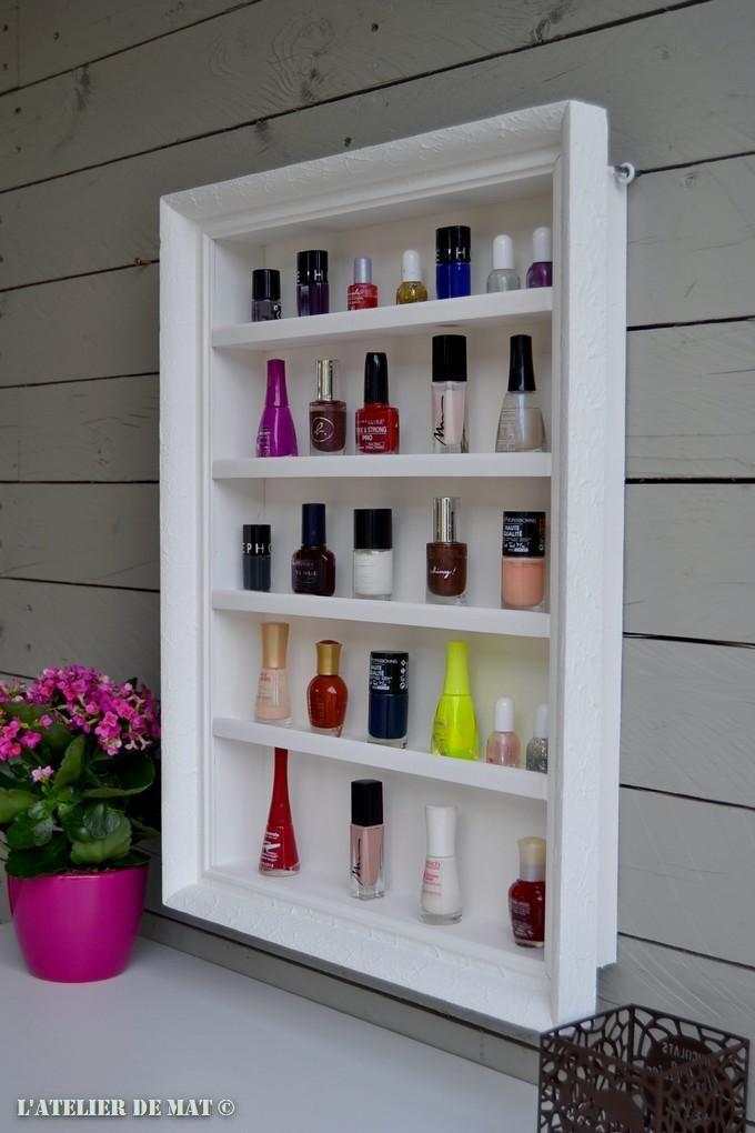 Une étagère DIY pour vernis à ongles | Rangement vernis, Étagère vernis et Étagères diy