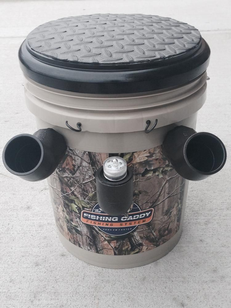 Fishing caddy bucket combines a seat tackle box and pole for Fish box for boat