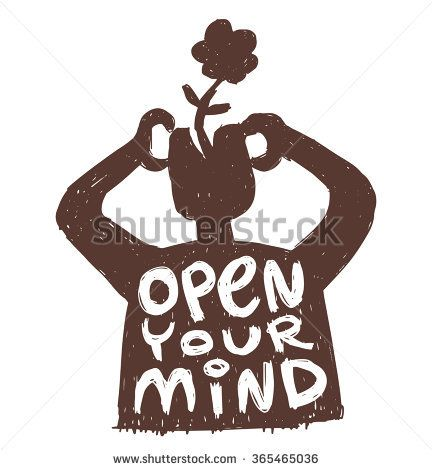 """Vector motivational card with cartoon image of black silhouette of a man with flower growing out of his head with white lettering """"Open your mind"""" on a white background. Hand drawn typography poster."""