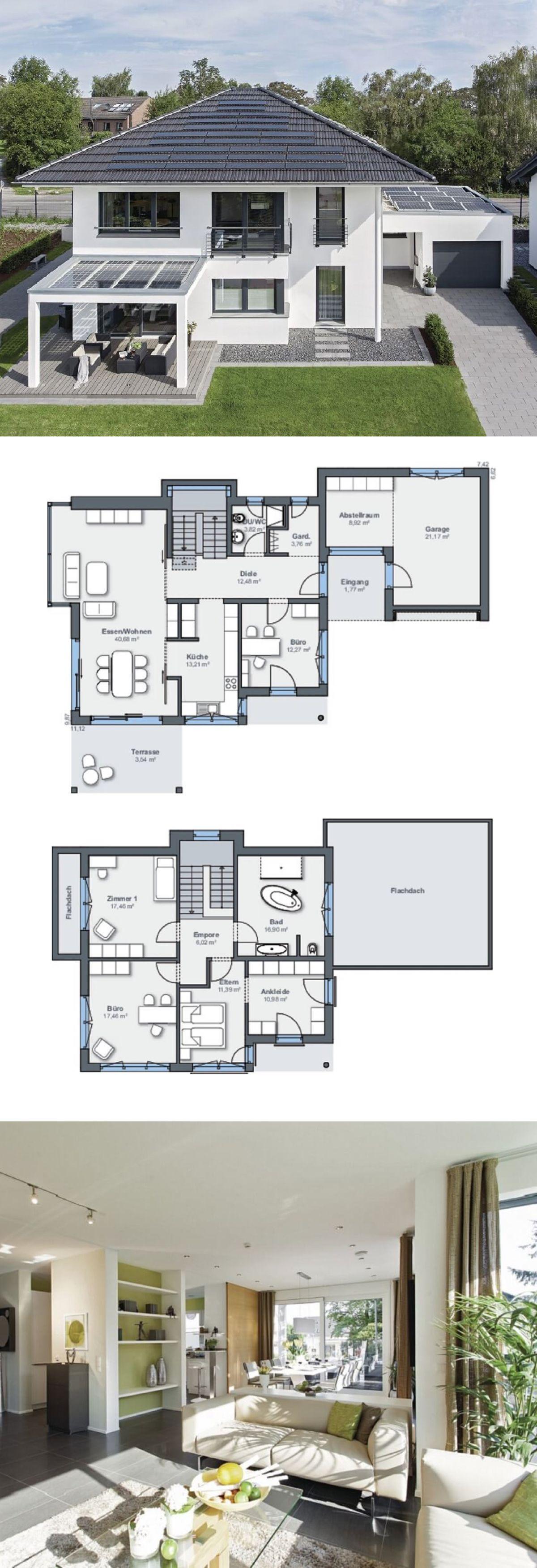 Modernes Design Haus mit Garage & Pergola - Grundriss Einfamilienhaus City Life Haus 250 WeberHaus Fertighaus Architektur - HausbauDirekt.de #pergoladesigns #garageplans