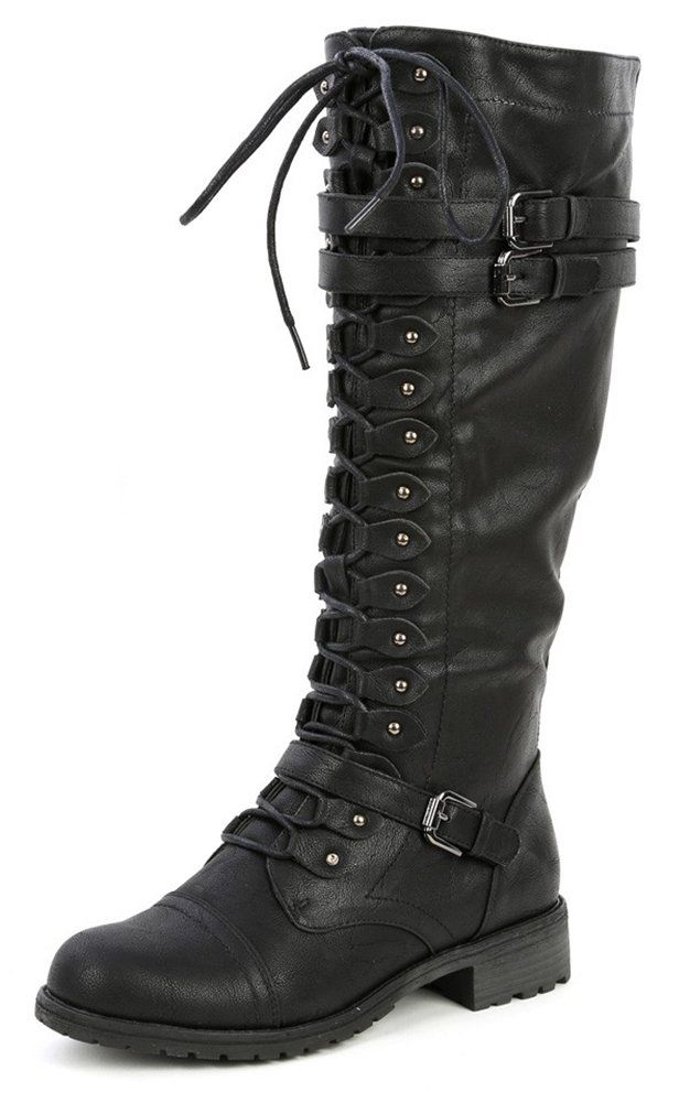 Amazon.com: Wild Diva Women's Fashion Timberly-65 Military Knee High Combat Boots Shoes Black Pu 5.5: Shoes