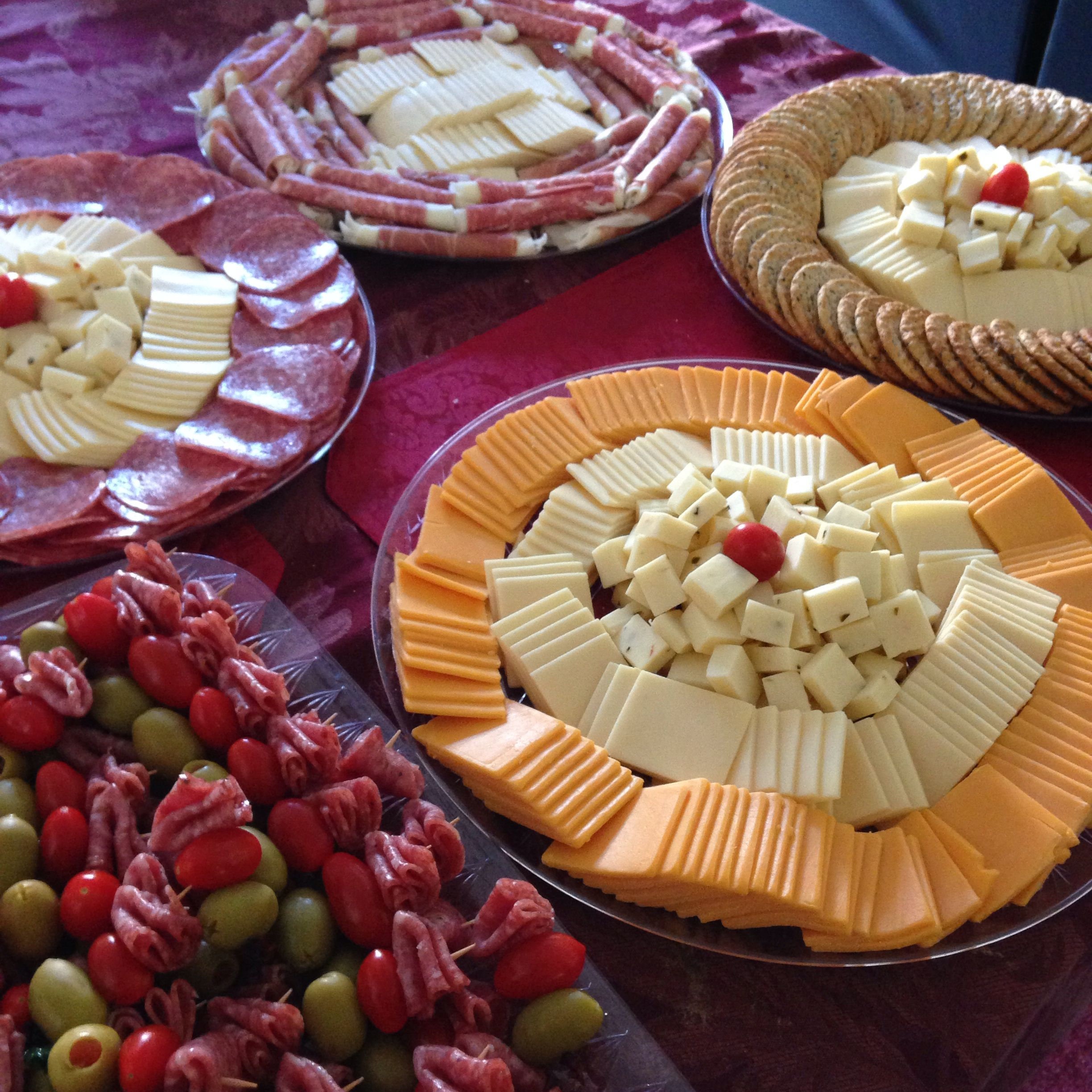 Appetizer Only Wedding Reception: DIY Appetizers Cheese Plates, Meat And Olives For Mel's
