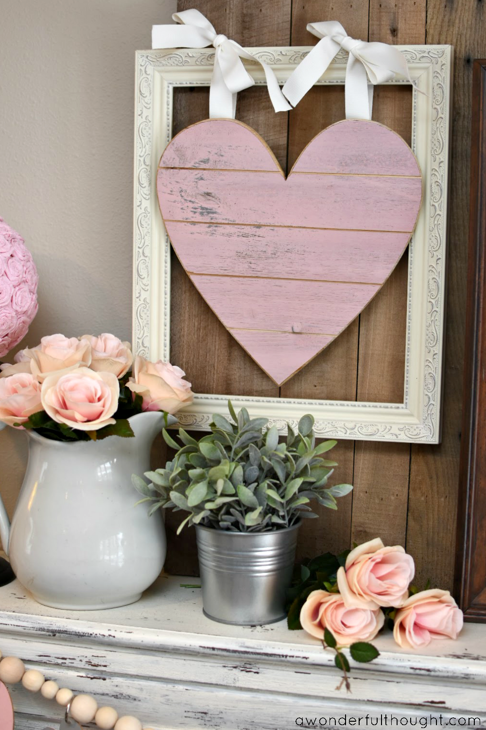 Pretty In Pink Gray Valentine S Day Mantel A Wonderful Thought Diy Valentine S Day Decorations Diy Valentines Decorations Valentines Diy
