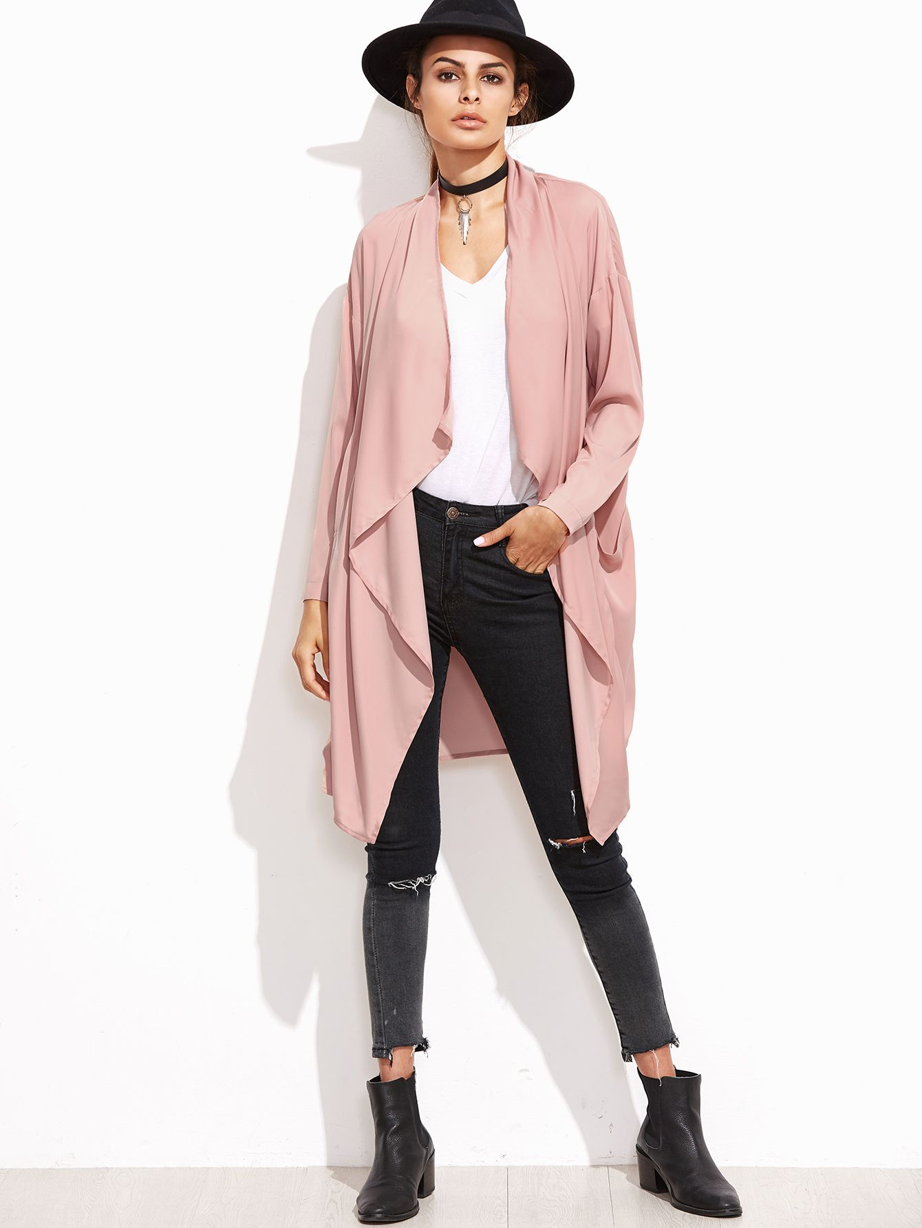 Pink Waterfall Collar Duster Coat — 12.31 € ---------------------color: Pink size: L,M,S,XS