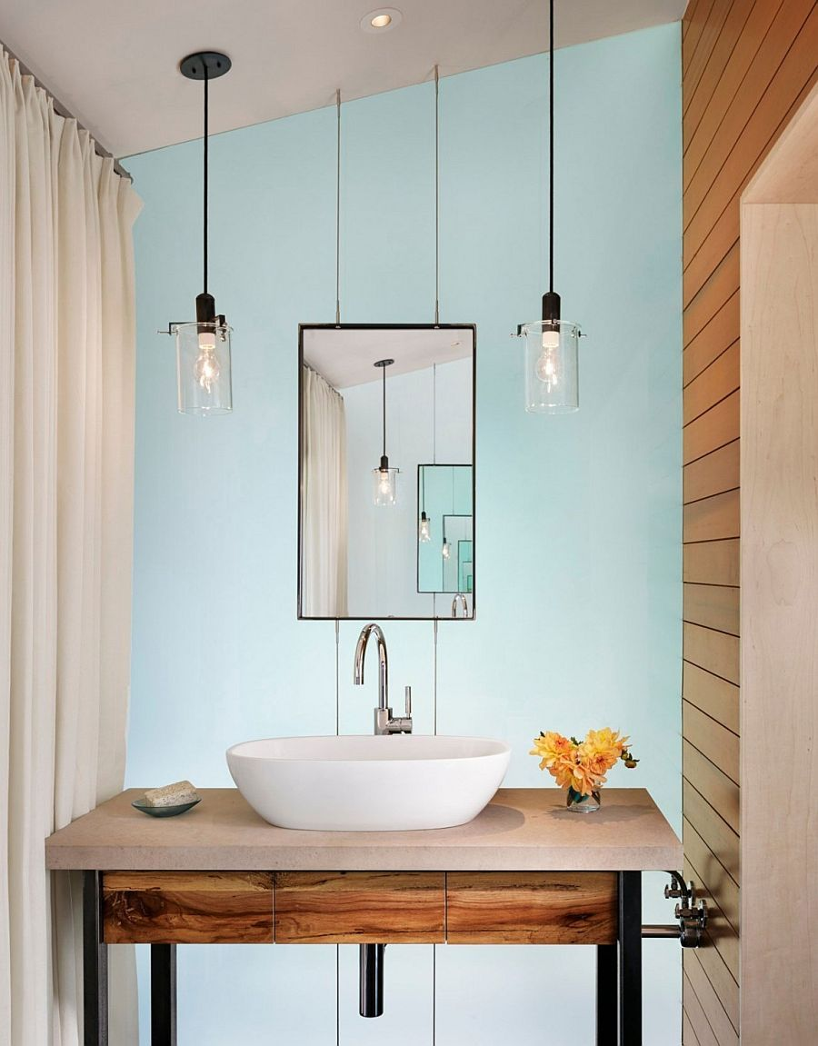 Bathroom Ideas, Double Pendant Modern Bathroom Lighting Above Sink