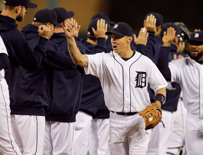 DETROIT, MI - APRIL 21: Brandon Inge #15 of the Detroit Tigers celebrates a 3-2 win over the Texas Rangers at Comerica Park on April 21, 2012 in Detroit, Michigan. (Photo by Gregory Shamus/Getty Images)
